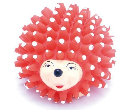 Squeaky Hedgehog Red 11Cm