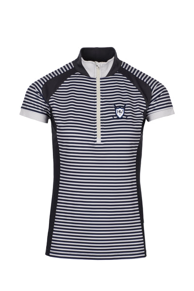 Horseware Eda Technical Polo Navy Pinstripe