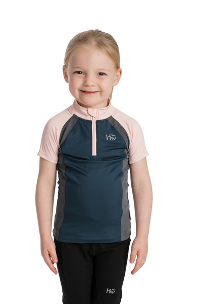 Horseware Kids Aveen Tech Melange Top Rosewater/Navy