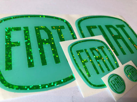 Clearance - FIAT 500 Full set Mint/Glitter Fluorescent Green Gel Badges