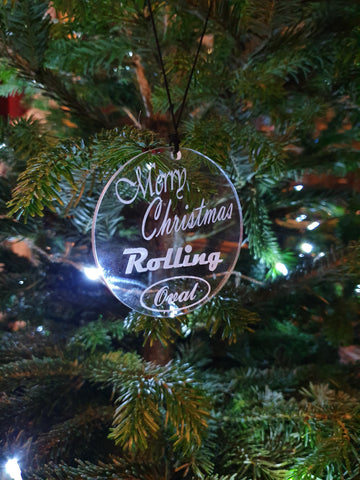Laser Cut Rolling Oval Christmas Ornament