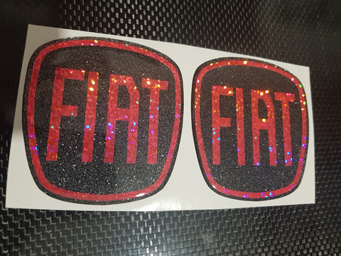 Fiat 500 Gel Badges Front And Back only  ALL GLITTER