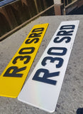 Carbon Effect Laser Cut Acrylic Road Legal Number Plates