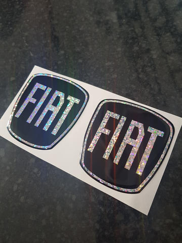 Fiat 500 Gel Badges Front and Rear Only PARTIAL GLITTER