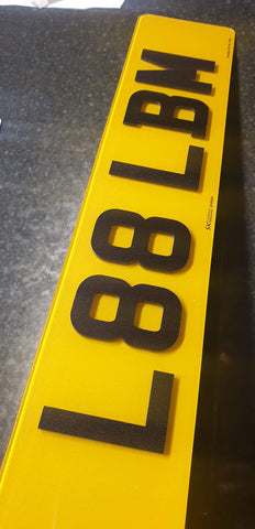 Laser Cut Glitter Acrylic Road Legal Number Plates