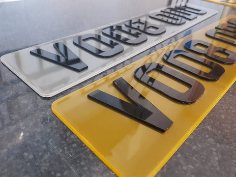 Laser Cut Tinted Acrylic Number Plates