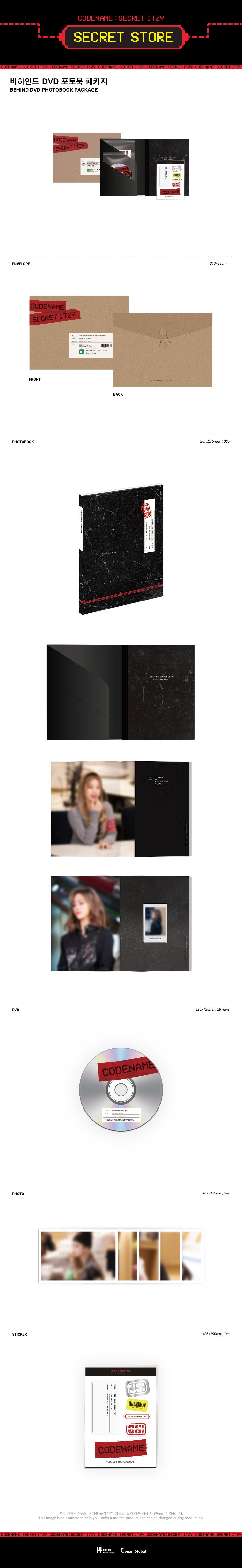 ITZY - CODENAME - SECRET ITZY BEHIND DVD PHOTOBOOK PACKAGE Infographic