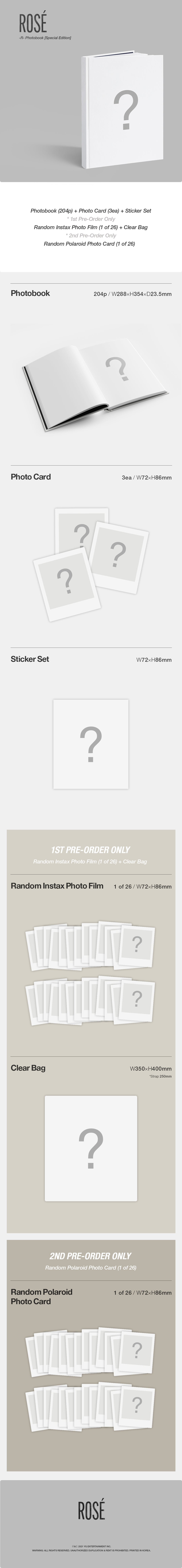 PREORDER - Rosé - R - ROSE Photobook Special Edition Infographic