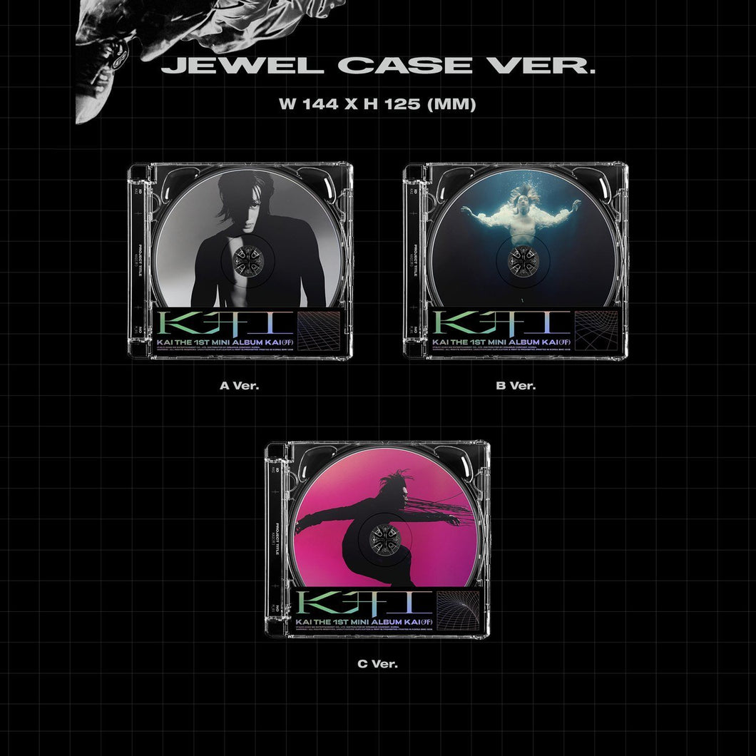 KAI 1st album JEWEL CASE Version X Black and White - Version Y Blue - Version Z Pink