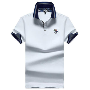 LouisAura™ Male Solid Casual Classic Cotton Polo Shirt