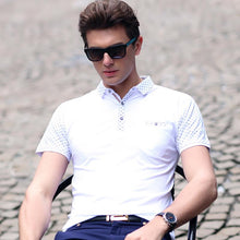 LouisAura™ Male Slim Short Sleeve Shirt Lapel Business Polo Shirt