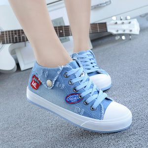 Free Shipping New 2017 Top Sale High Quality Design Fashion Washing Denim Canvas for Women Jeans Canvas Shoes 5 Colors Size35-40