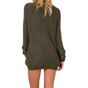 LouisAura™ Female Neck Knitted Lace-up Sweater
