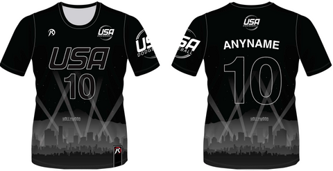 TEAM USA DODGEBALL - Black Short Sleeve Jersey
