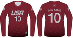 TEAM USA DODGEBALL - Maroon Long Sleeve Jersey