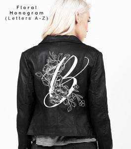 BOTANICAL MONOGRAM - Bridal Jacket Leather - Painted Bridal Jacket