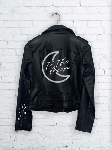 To the Moon Hand Painted Jacket : LIMITED EDITION LOVE COLLECTION