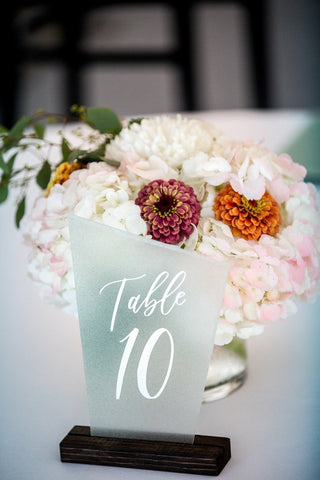 Faux Sea Glass Table Numbers (With Stands)