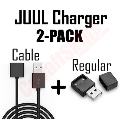 2 Pack Juul Chargers - 1 Cable & 1 Regular - VaperSkins