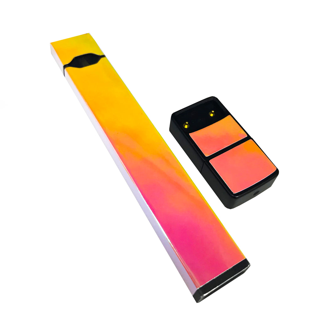 Pack of 2 Full Skin For JUUL - Yellow Pink Holographic Chrome - VaperSkins