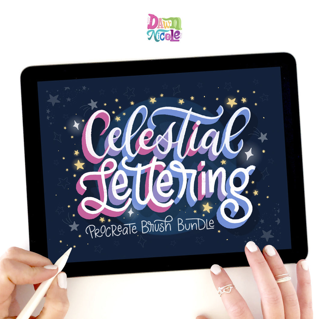 Celestial Lettering Procreate Bundle