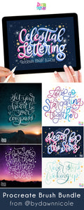 NEW! Celestial Lettering Procreate Bundle