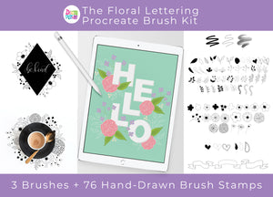 The Floral Lettering Procreate Brush Kit