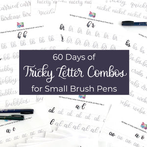 60 Days of Tricky Letter Combos for Small Brush Pens