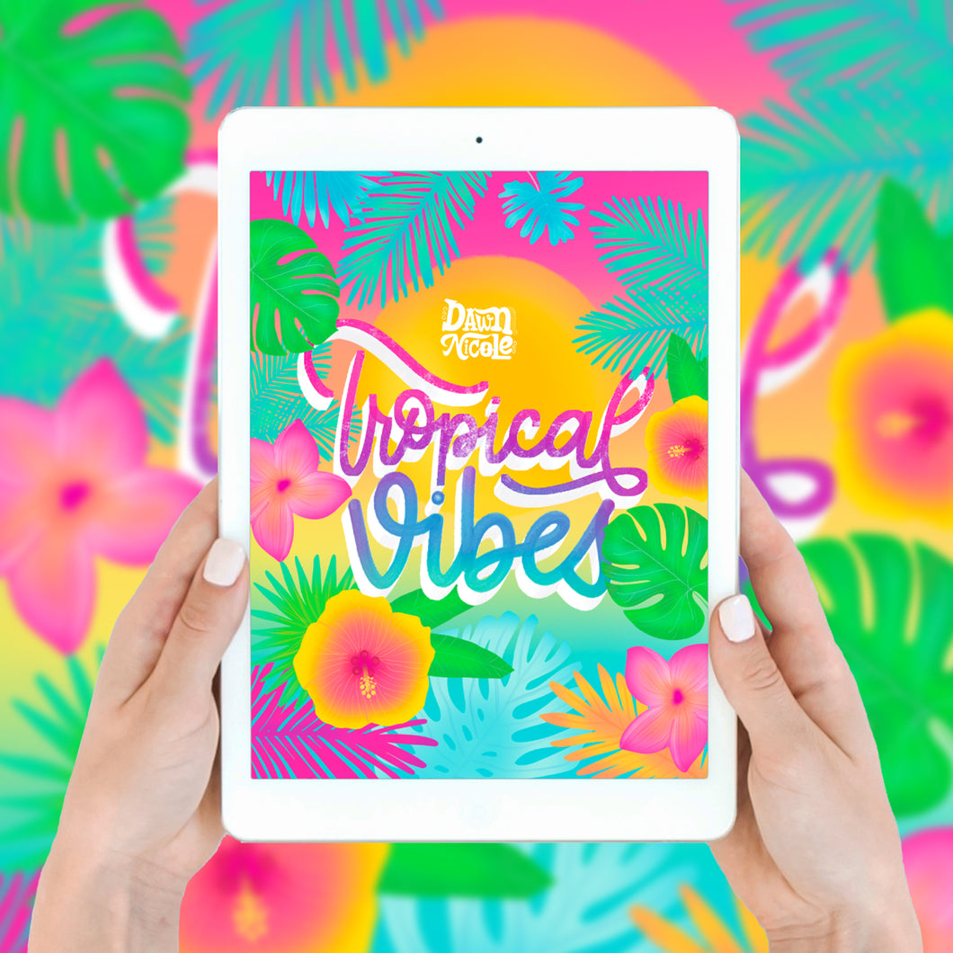 Tropical Vibes Procreate Lettering Kit