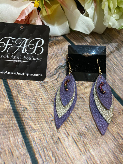 Layered Purple/Gold Earrings