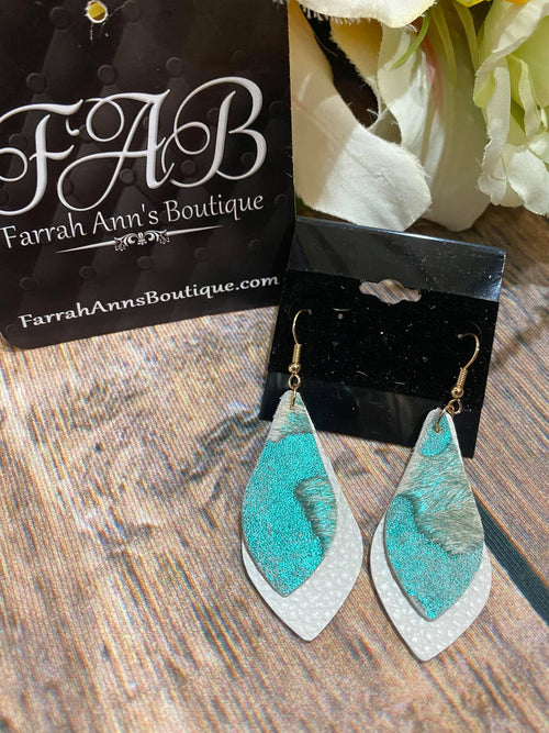 Aqua & Ivory Layered Earrings