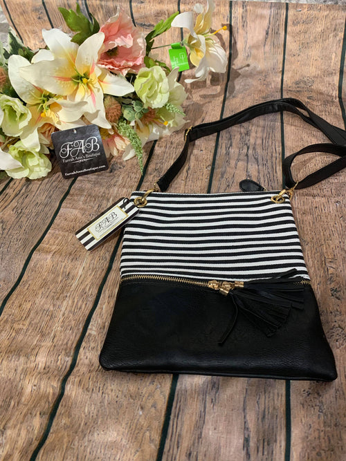 Stripe Crossbody-Black