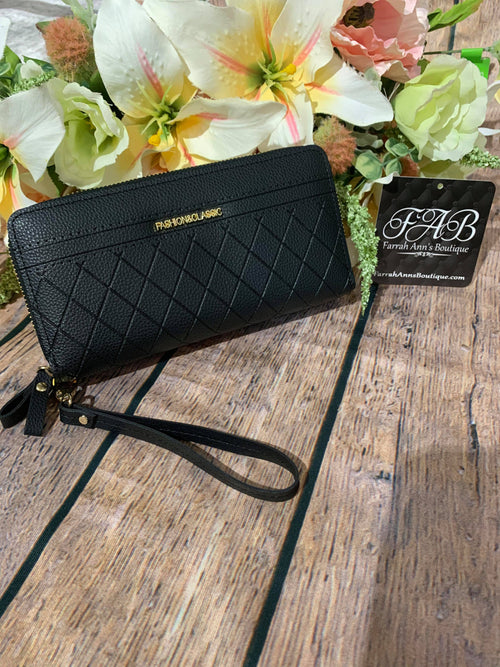 Quilted Wallet-Black