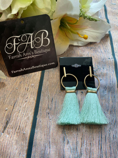 Boho Fringe Earrings-Mint