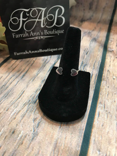 Double Hearts Ring-Silver Tone
