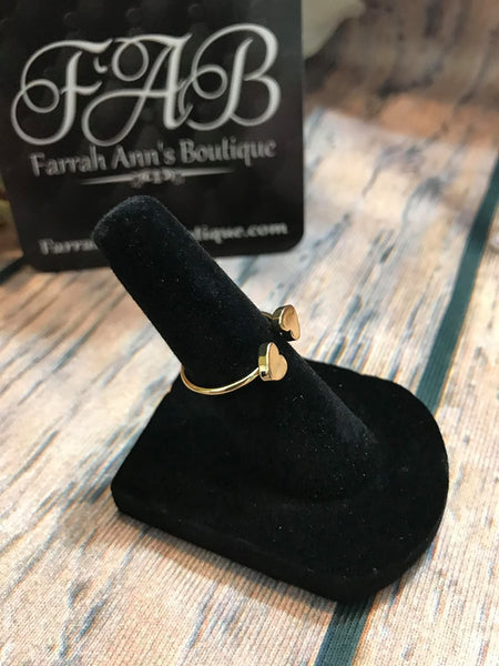Double Hearts Ring-Gold Tone