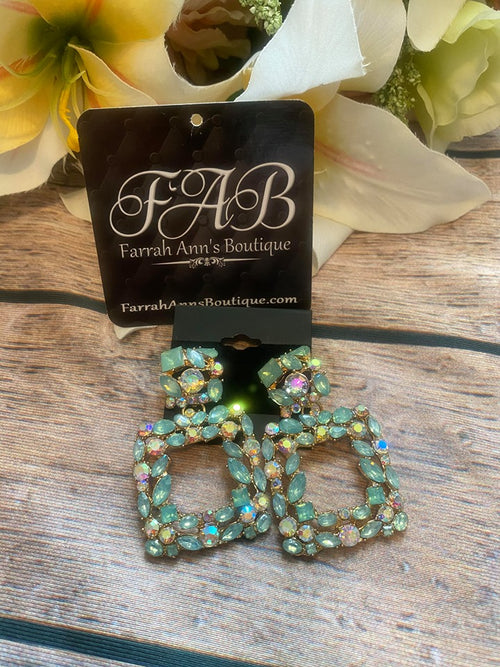 Green Rhinestone Earrings