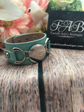 Leather Cuff Bracelet-Mint