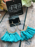 Round Tassel Earrings-Light Blue