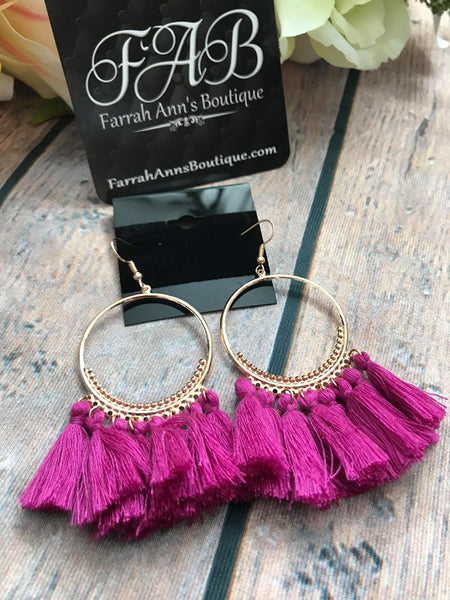Round Tassel Earrings-Fuchsia