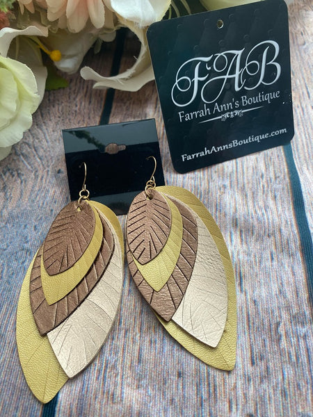 Five Layer Leaf Earrings-Mustard