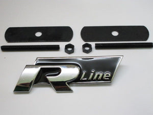 New Black 4 R Line Metal Grill Emblem 3D lettering for VW Golf GTI Scirocco Polo