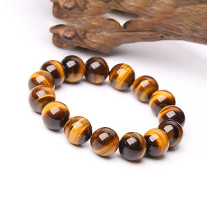 Fabolouz Natural Yellow Tigerite Tiger's Eye Stone Bracelet