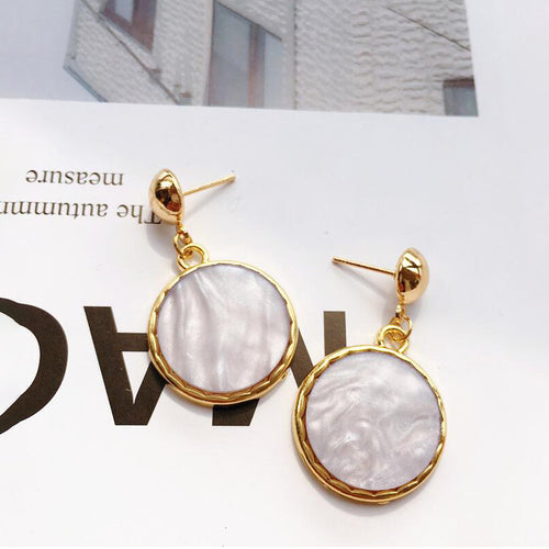 Fabolouz Aluminium Silver/ Gold Plated Simple Texture Round Wild Temperament Earrings