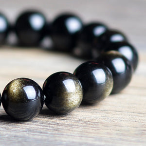 Fabolouz 8-14MM Natural Gold Sheen Obsidian Stone Bracelet - Fabolouz