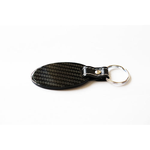 Real Carbon Fiber Key Chain Key Fob with Stitched Leather (Style C)