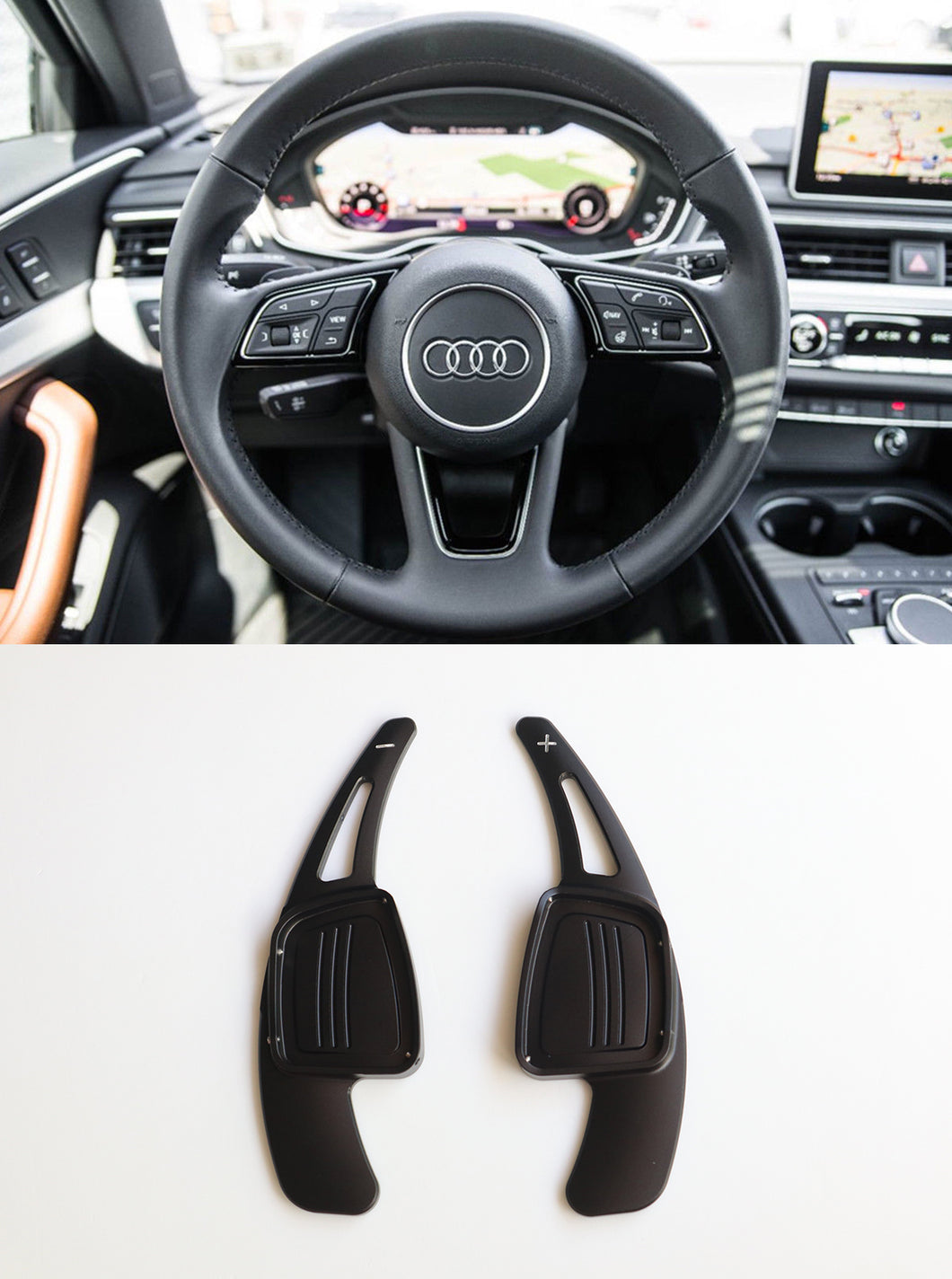 Alloy Made Steering Wheel DSG Paddle Shifter Extension for A3 A4L A5 Q7 TT TTS S4 Q2 S3 SQ 2016-2017 (Black)