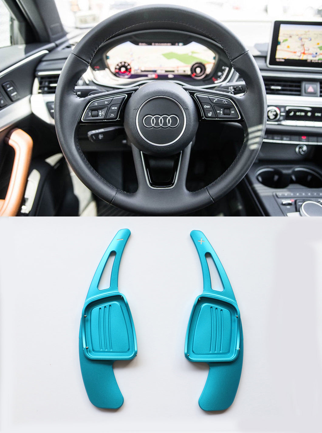 Alloy Made Steering Wheel DSG Paddle Shifter Extension for A3 A4L A5 Q7 TT TTS S4 Q2 S3 SQ 2016-2017 (Blue)