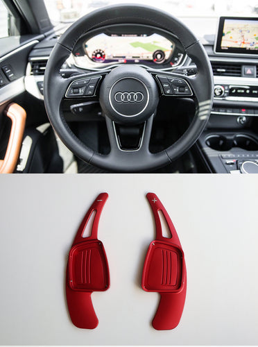 Alloy Made Steering Wheel DSG Paddle Shifter Extension for A3 A4L A5 Q7 TT TTS S4 Q2 S3 SQ 2016-2017 (Red)