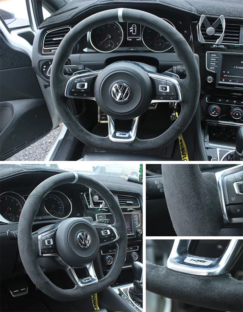 Synthetic Cashmere Steering Wheel Cover for VW Golf MK7 GTI (Grey Rope Grey Mark)